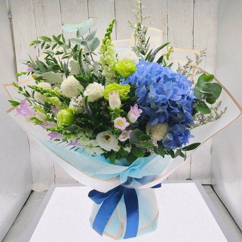 Stylish Blue Hydrangea Bouquet