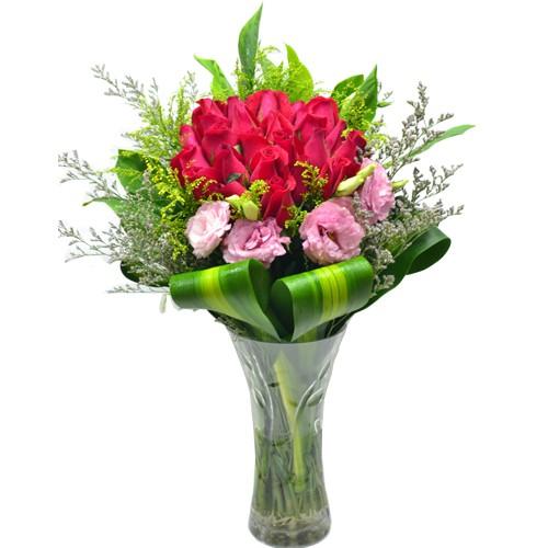 Two Dozen Red Roses in Vase