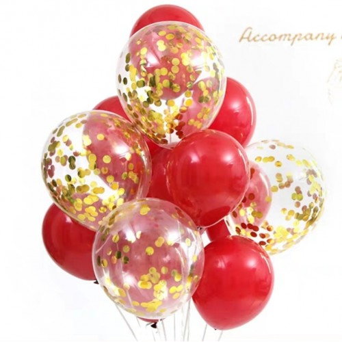 Twelve Balloons in Red and Gold