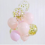 Ten Balloons in Peach, Pink and Gold
