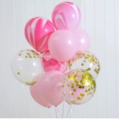 Ten Balloons in Pink and Gold