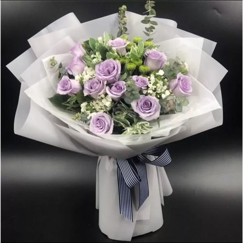 One Dozen Purple Roses Bouquet