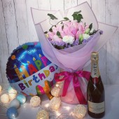 Birthday Combo Flowers, Champagne and Balloon