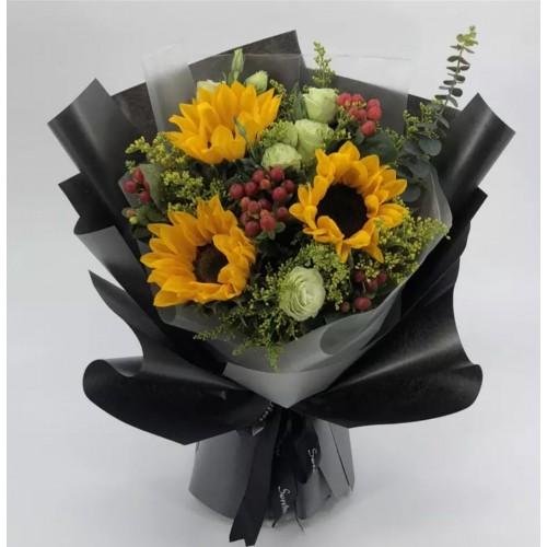 3pcs Sun Flowers Bouquet Valentines Day