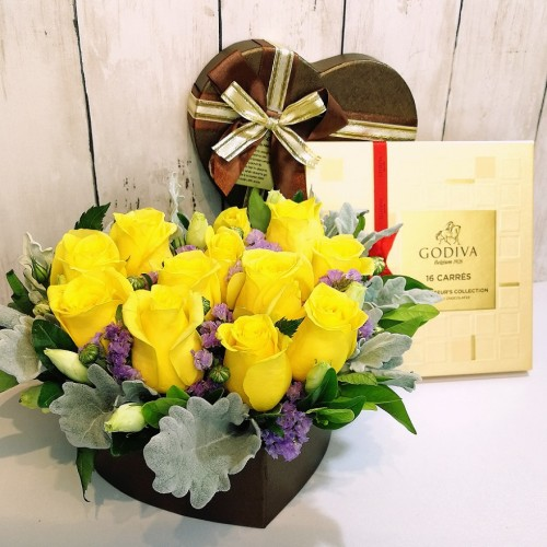 One Dozen Roses in a Heart Shape Box with Godiva Chocolate