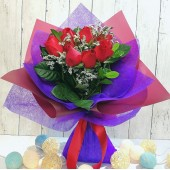 One Dozen Roses Bouquet (Colour at Your Choice)