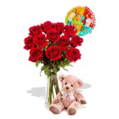 12 Rose Package with Medium Teddy Bear and balloon
