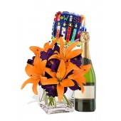 Asiatic Lily Package, White Wine and a Birthday Balloon
