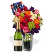 Mixed Bouquet Package , Bubble Wine and Helium Balloon