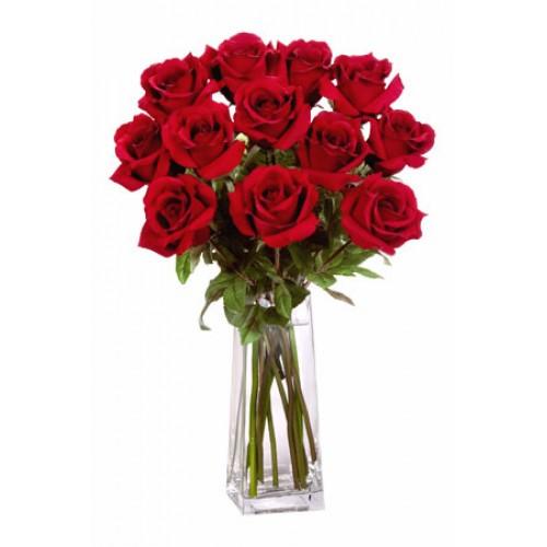 12 Long Stem Premium Roses Vase Bouquet
