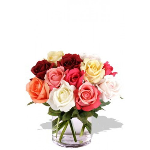 12 Mixed Short Stem Rose Vase Bouquet