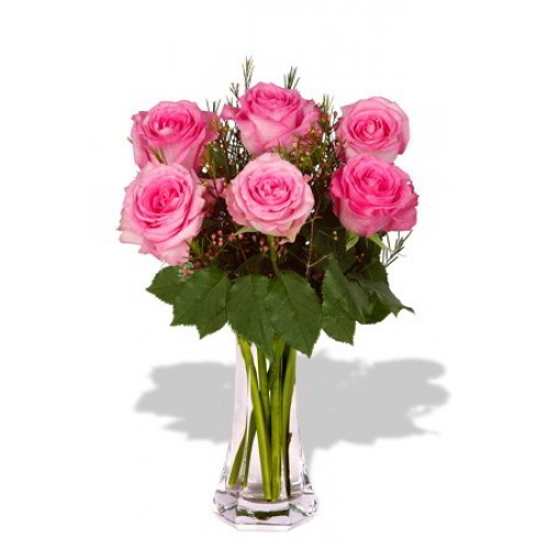 6pcs roses in vase (Color at Your Choice)