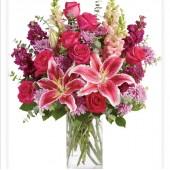 Super Mum Lilies Roses Vase Bouquet